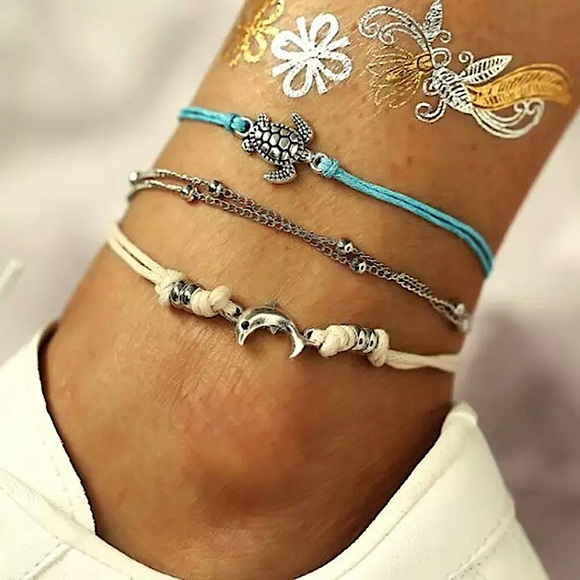 """Saltwater Life"" SeaTurtle/Dolphin Anklet/Bracelet"